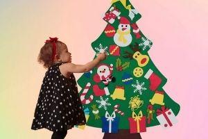arbol navidad fieltro pared
